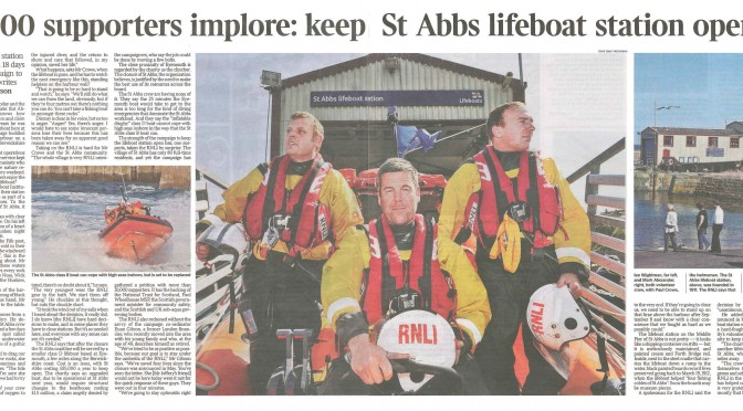 """10,000 supporters implore: keep St Abbs lifeboat station open"" article in The Times"